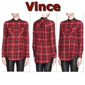 Vince red/black plaid button down tunic